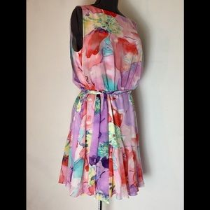 Vintage Ralph Lauren chiffon floral dress medium